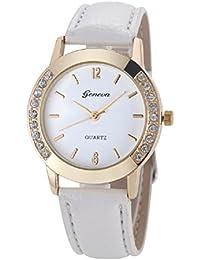 Relojes Pulsera Mujer,Xinan Cuero del Diamante Analógico Relojes de Cuarzo (Blanco)