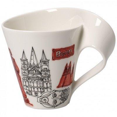 Villeroy & Boch Cities of the World Kaffeebecher Bonn, 300 ml, Premium Porzellan, Weiß/Bunt
