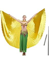 Imucci 140 cm 14 colori 360 gradi Egitto indiano danza del ventre ali di Iside ala fan bellydance, Adult gold with stick