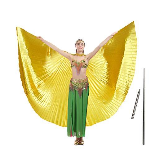 imucci 140cm 14Farben 360Grad Ägypten indischen Bauchtanz Wing Fan Tanzen Isis Flügel, Child gold with (Tanzen Tragen Tanz Kostüm)