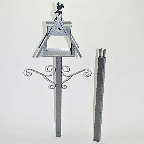 Vogelhaus XXL mit Ständer aus Metall (Farbe: silber-antik) - 7