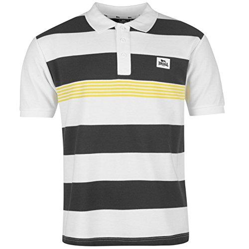 Lonsdale Mens Yard Stripe Polo Shirt Tee Top Short Sleeve Fold Down Collar