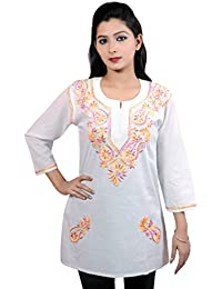 ACC 100% Cotton Chikan Embroided Kurti/Tunic Tops For Womens With 3/4 Sleeves,All Sizes And Different Colors ,...