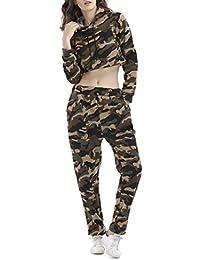 HANMAX Jogging Survêtement Femme à Capuche Camouflage Manches Longue Top Courte + Pantalon Gym Tenue de Sport Ensemble Deux Pièces