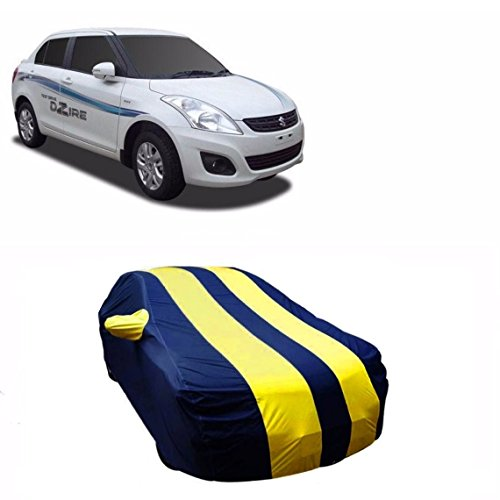 MotRoX Sporty Yellow Stripe Car Body Cover For Maruti Suzuki Swift Dzire (Water Resistant and Triple Stiched-GN)  available at amazon for Rs.849