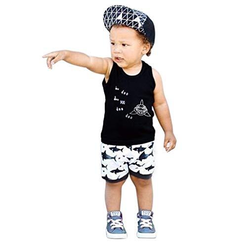 Diath 2 StüCk Kinderkleidung Set Baby Jungen Outfits Hai Muster Cartoon Tshirt Top + Gestreifte Kurze Hosen Shorts (Schwarz, 90)