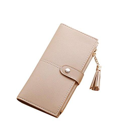 ESAILQ Simple femmes Portefeuille long Tassel Porte-monnaie carte de sac à main titulaires (Beige)