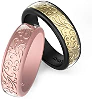 Ikonfitness Silicone Wedding Ring, Two Piece Rubber Wedding Ring with Unique 3D Sculptured Flower Pattern, 6.5