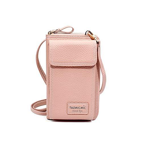 Womens Handtasche Crossbody Telefon Geldbörse Inhaber Veranstalter Scheckheft Brieftasche Kartenetui Business Clutch Wrist Bag, Pink -