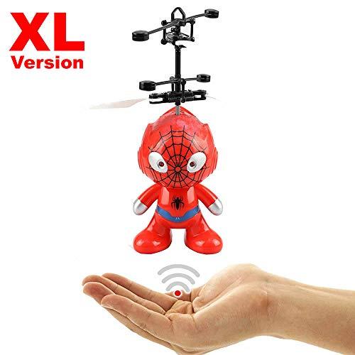 Fliegender Superheld Hubschrauber Agent SPIDER XL (rot) - Astronaut - Super Hero mit hellen LED Augen!Einfach zu Steuern per Hand!Der Bestseller 2019!Mini Drohne,Helicopter