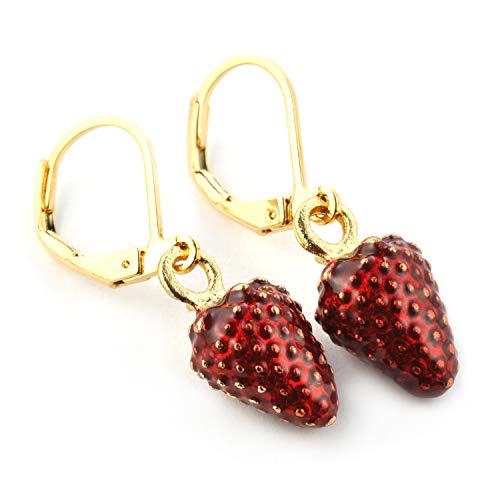 SCHMUCKZUCKER Damen Mädchen Ohrhänger Wald-Erdbeere süße Modeschmuck Ohrringe Gold Rot Dunkelrot
