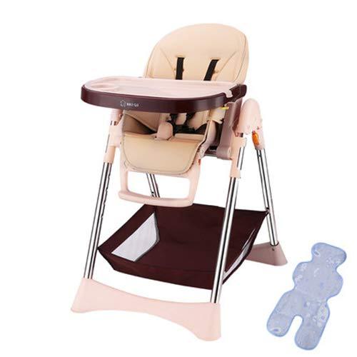 FLB Verstellbarer Klappstuhl, Baby-Essstuhl, tragbarer Kindersitzstuhl, multifunktionaler Baby-Esstisch,Gold