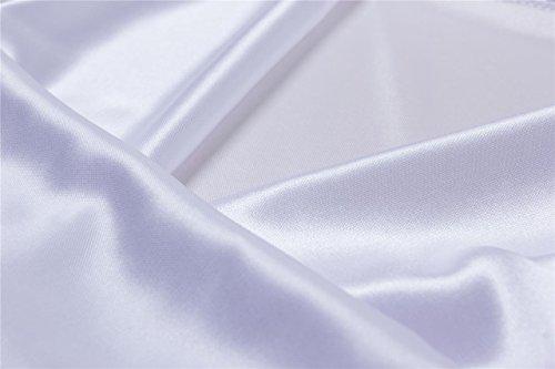Damen ?rmellos Satin reizvolle Haube-Ansatz Top Bluse Weiß