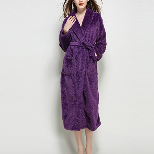 Zhhlaixing Fashion Uomo Donne Winter Thick Flannel Nightgown Super Soft Full Length Thick Unisex Accappatoio Pajamas Purple