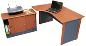Computer Corner desk left hand with Storage cabinet (Cherry / dark grey)