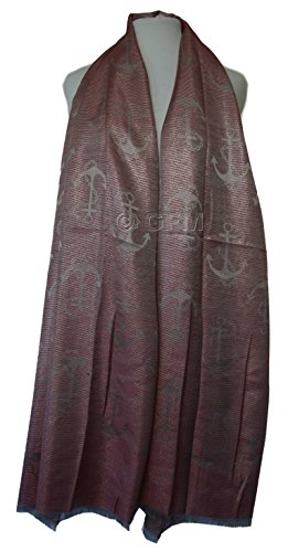 GFM Fastglas soirée étincelant large pour écharpe étole de châle LONG & de large Multicolore - Z09GHLL - Anchor Design -  Red