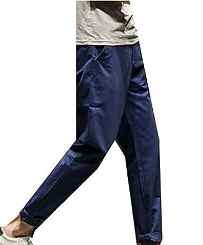 Fulok Men Casual Solid Color Elastic Waist Slim Straight Fit Pants 34 Navy