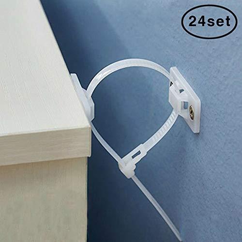 Möbelgurte 24 Set Nylon Anti-Kipp-Möbelanker Gurte, Sicherheits-Möbel-Wandanker für Baby-Proofing & Haustierschutz, Schrauben & Hardware im Lieferumfang enthalten, 24 - Gurt-hardware