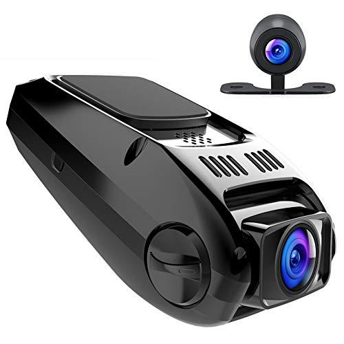APEMAN Cámara de Coche Dash Cam Full HD 1080P Dual Lens 170°Gran Ángulo, WDR Visión Nocturna Dashcam con G-Sensor Loop de Grabación detección de Movimiento Camaras