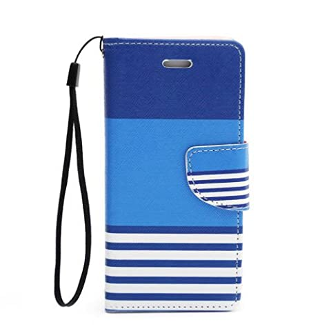 Flip Card Holder Stand PU Leather Wallet Phone Case Cover For iPhone Samsung LG 10. Blue Stripes Samsung Galaxy Note (Stripe Accent Pillow)