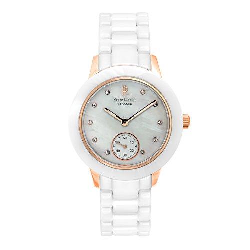 Pierre Lannier–065K990–Elégance cerámica–Reloj Mujer–Cuarzo Analógico–Reloj Nacre–Pulsera cerámica blanco