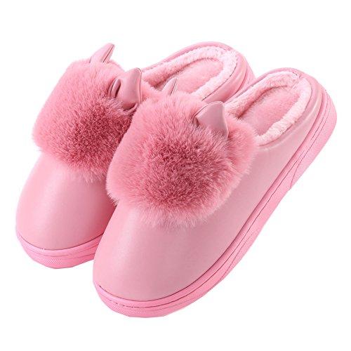PU Nette Katze Ohren Baumwolle Pantoffeln-Unisex Winter warm Pl¨¹sch Bootie Schuhe dunkel Rosa