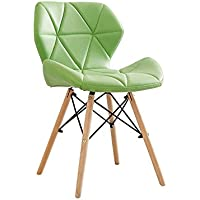 YY_C1 Silla PU + Wood + Metal 50CM * 38CM * 73CM (Color : Green)