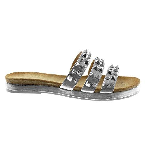Angkorly Scarpe Moda Sandali Mules Slip-On Donna Multi-Briglia Borchiati Lucide Tacco a Blocco 2.5 cm Argento