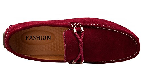 Yaer Slip-on Chaussures Homme Bateau en Daim Rouge Loafer