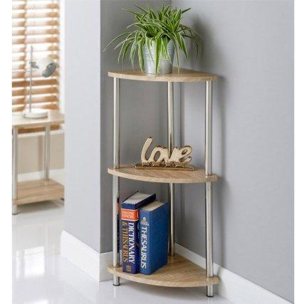 Svar, 3niveles), diseño con efecto de madera de roble–armario de esquina estante unidad organizador de mesa auxiliar estantería de almacenamiento Caddy