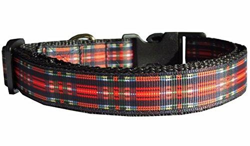 Hundehalsband Karo kariert Nylon rot England Halsband Halsung Band Klickverschluss S verstellbar 30 - 43 cm x 2,0 cm (Bestickte Jack Pullover)