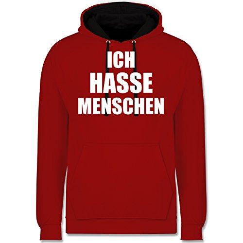 Statement Shirts - Ich hasse Menschen - Kontrast Hoodie Rot/Schwarz