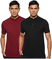 Amazon Brand - Symbol Men's Solid Henley Regular fit Polo (Pack o