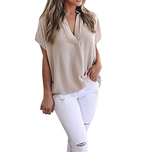 VEMOW Heißer Verkauf Frauen Damen Sommer Chiffon Kurzarm Freizeithemd Tops Bluse Perfect Tee T-Shirt (EU-42/CN-M, Khaki) (Seersucker-hose Khaki)