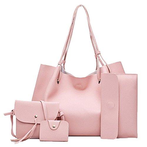 Borsa in pelle artificiale, donna borsetta moda quattro set borsa donna borse in pelle Messenger Bag di Kangrunmy Rosa