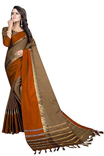 Perfectblue Women's cotton Silk Saree With Blouse Piece (DarkGreyFantaTample)