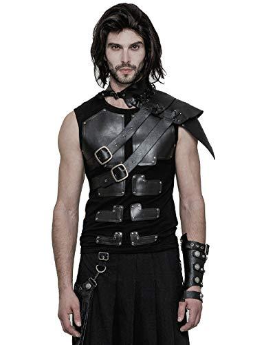 Punk Rave Schwarzer Steampunk Gothic Cosplay Leder One-Shoulder Kragen Kostüm Zubehör für Herren (Cyber Punk Kostüm)