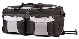 KS-100 34INCH BLACK GREY Large Size Wheeled Holdall Travel Bag with Trolley Handle