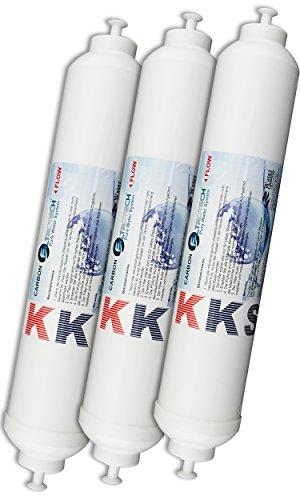 KKS-3er Pack Wasserfilter für Samsung LG Haier Daewoo Miele Side by Side US-Kühlschrank. externer Aktivkohleblock Filter, Schlauchanschluss ist fest integriert.