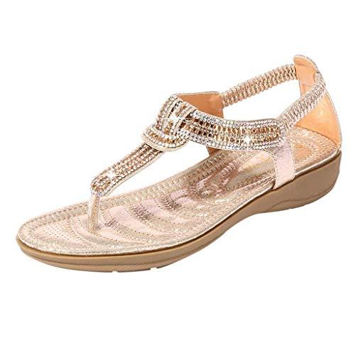 HILOTU Frauen Böhmen Flache Sandalen Sommer Strand Glitter Perlen Elastische T-Strap Casual Flip-Flop Thong Schuhe (Color : Gold, Size : 41 EU) Gold Thong Schuh