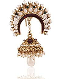 I Jewels Traditional Gold Plated Elegantly Handcrafted Pearl with Jhumka Hair Pin for Women T1013W (White)