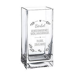 Casa Vivente Blumenvase mit Gravur - Die Beste Oma der Welt - Personalisiert mit Namen - Glasvase für Schnittblumen - Deko-Vase als Muttertagsgeschenk - Geschenkidee für Großmütter