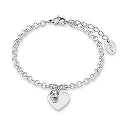 s.Oliver Damen-Armband mit gravierbarem Herz-Anhänger aus hochwertigem Edelstahl mit Swarovski-Kristallen, längenverstellbar (17+3 cm)