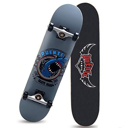 GuanMun 31 Pouces (79cm) Skateboard Professionnel Scooter à Quatre Roues Enfants Adultes Brosse Rue Voyage Route Conseil ABEC-9 Portant (Couleur : Deep Sea)