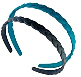 #4: 2 Pcs Braid Design Hair Band For Girls & Women. Beautiful Hairband For Little Girls, Teen Age Girls Hair Accessories For Kids And Girls (Blue & Black)