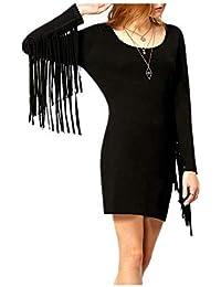 48d7ca10f2b23 FuweiEncore Abito stile autunno-inverno con vestibilità attillata a maniche  lunghe con macramè