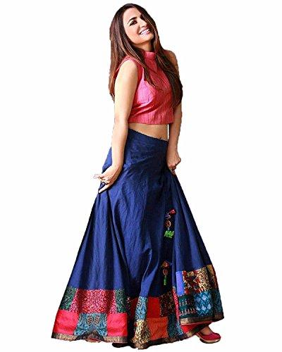 Lehenga Choli (Impartus Lifestyle Women\'s Western Wear Lehenga Choli Latest Designer Women\'s Bhagalpuri Silk Blue & Pink Semi - Stitched floor length Gown)