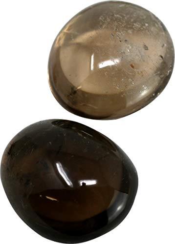 100 g Rauchquarz Trommelstein XL, 4 bis 5,5 cm, 1 bis 2 Steine, Handschmeichler Edelstein Rauch Quarz grau 100g