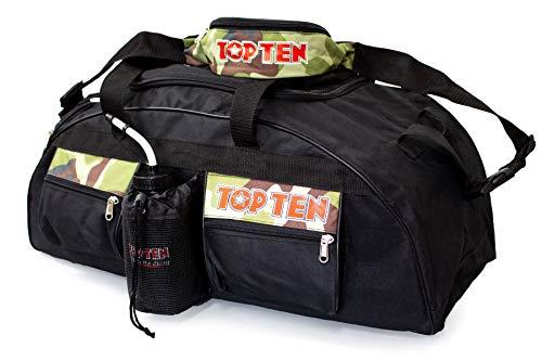 TOP TEN® 80 x 40 x 40 cm Sporttasche + Bauchtasche Kickboxen Kick-Boxen, Thaiboxen Muay Thai, Tasche, Trainingstasche, Kickboxtasche Bag, schwarz rot 80019005 Budoland TOPTEN