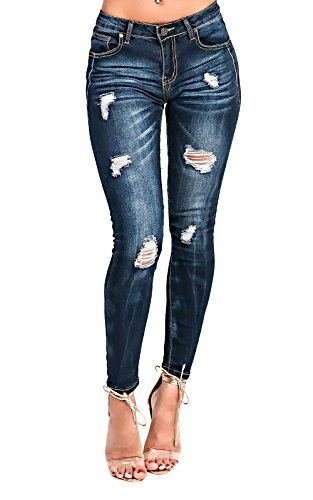 Women's Ladies Mid Rise Skinny Ripped Jeans Blue